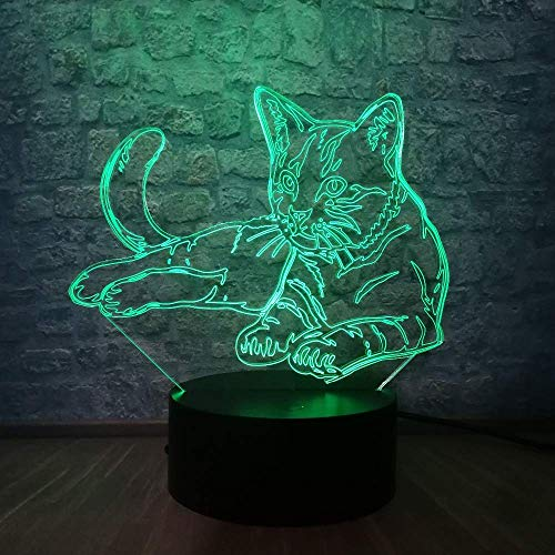 3D LED nachtlampje 7 kleurrijke kat nachtlamp sieren schrijftafel licht USB touch sensor oplaadbare lamp voor baby slaapkamer luminar