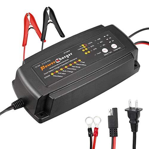 Cargador de batería inteligente 12 V 2/4/8 A 3 en 1 control de microordenador cargador automático AGM GEL WET 7 pasos para camiones de moto de coche RV ATV con enchufe americano de 2 pines