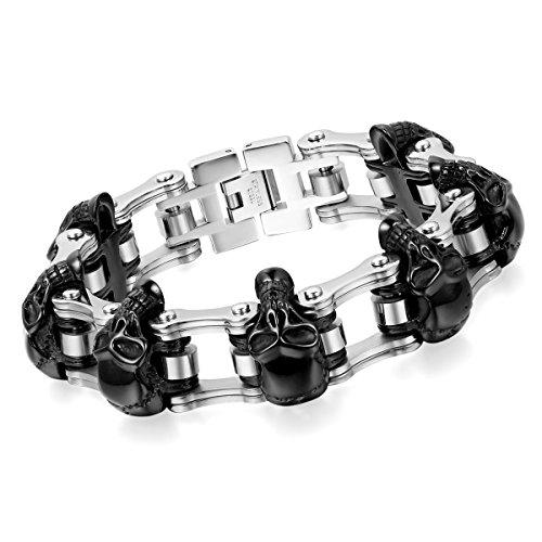 Cupimatch Herren Edelstahl Schädel Armband, 16mm Breite Schwere Edelstahl Totenkopf Fahrradkette Biker Motorradkette Hochglanz Poliert Rock Armreif, Silber schwarz