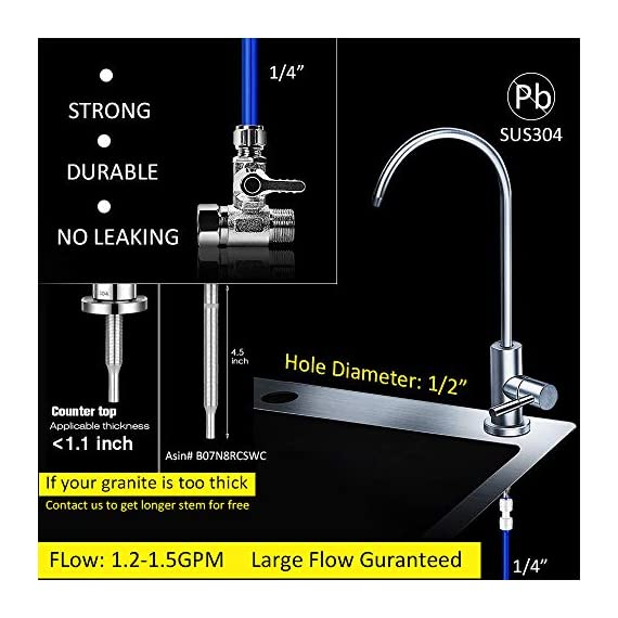 """Frizzlife Under Sink Water Filter-NSF/ANSI 53&42 Certified Drinking Water Filtration System-0.5 Micron Removes 99.99… 4 【Two-Stage Advanced Water Purifier with 0.5 Micron】: The Frizzlife MP99 Water Filtration System include a TWO-STAGE High precise compound filter, which has a unique technology that removes over 99.99% of contaminants while leaving in all essential minerals. Eliminates Lead, Heavy Metals, Chlorine, Chromium 6, Mercury, Rust, Volatile Organic Compounds, Carcinogens, and other contaminants, such as Turbidity, Ordors and Bad Tastes. enjoy pure and healthy water from the tap. no more bottle water! 【Dedicated Faucet & Brass Feed Water Adapter Valve Included】: Frizzlife Undersink water filtration system includes a dedicated stailess steel faucet that can installed in most sinks providing cleaner filtered water for cooking or drinking. NO plumbing required, it come with 3/8"""" compatible brass feed water adapter, brackets and STEP-TO-STEP Installation manual, you can mount the water filter as you wish within 10 minutes. 【Best Auto Shut Off Design】: Utilizing quick change twist-in installation design makes it take less than 3 minutes for you to install the system or doing a filter replacement. Provides for easy, tool-free, no mess filter replacement. The filter cap is designed with BUILT-IN shut off valve. You don't even need to shut off the water supply whenever you work on the filter cartridge replacement."""