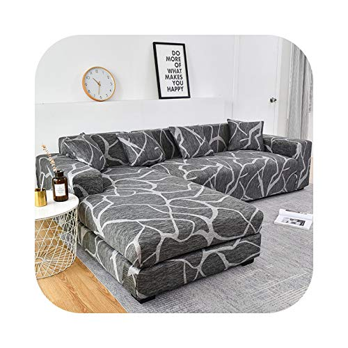 Onln 2021 L-Shape Need Order 2pieces Sofa Cover Cotton Elastic slipcovers Couch Cover loveseat Corner sectional Sofa Cover for Living Room-Color 6-2-seater 145-185cm