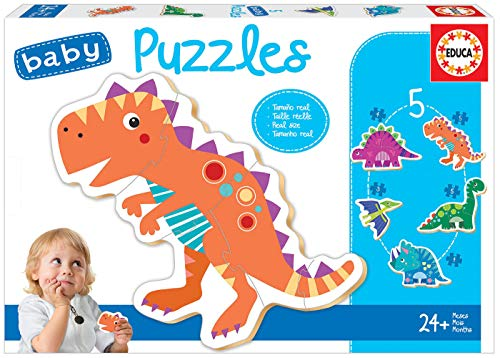 Educa - Baby Puzzles Dinosaurios. Set de 5 Puzzles Infantiles Progresivos de 3 a 5 piezas. A partir de 24 meses. Ref. 18873