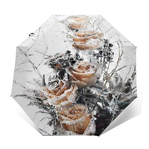 Regenschirm Taschenschirm Kompakter Falt-Regenschirm, Winddichter, Auf-Zu-Automatik, Verstärktes Dach, Ergonomischer Griff, Schirm-Tasche, Spiegel Gefrierschrank Blume Gefrorenes EIS