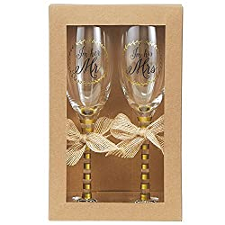 Wedding Champagne Glasses Set by Mud Pie