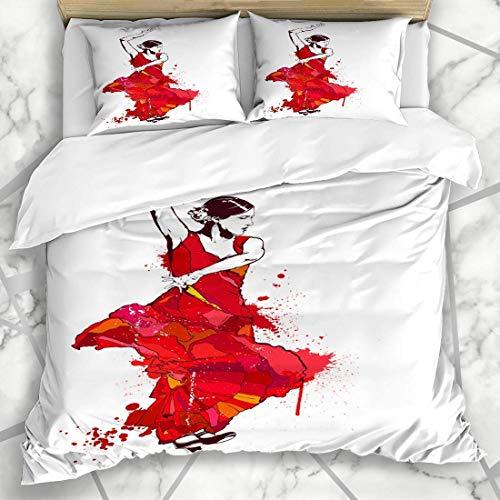 Conjuntos de funda nórdica Vestido España Chica española vintage Tacones rojos Bailarina de baile flamenco Lady Color Design Dibujo Ropa de cama de microfibra King Size con 2 fundas de almohada Cuidad