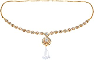 Saissa Traditional Gold Plated Stone Studded Kamarband Waist Band Belly Chain for Women