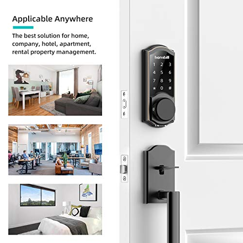 Keyless Entry Door Lock Deadbolt, Smart Lock Front Door, Electronic Door Locks with Keypads, Digital Auto Lock Bluetooth Smart Door Locks for Homes Bedroom