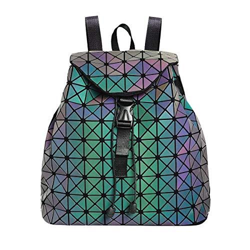 Geometrisch Leuchtend Rucksack Damen Schultaschen Holographisch Reflektierend Rucksäcke Daypack Schulrucksäcke Tasche Schulranzen für Mädchen Frauen Uni Reisen Freizeit Kordelzug Daypack