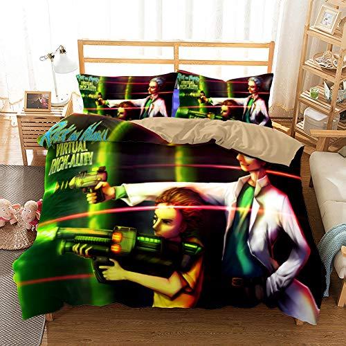 Probuk Rick and Morty UFO Juego de ropa de cama 100% microfibra, ropa de cama para niños y niñas, con funda de almohada (A-09,220 x 260 cm (50 x 75 cm)
