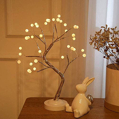 FuChsun Bonsai Tree Light 108 LED Warm White Shimmer Gold Branches Battery and USB Operated (Pearl-Warm White Glow Gold Branch)