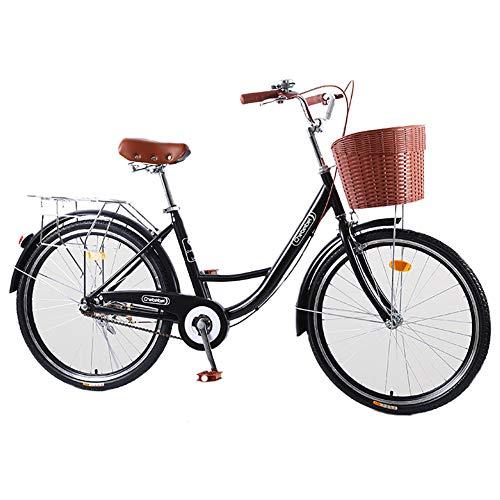JACK'S CAT Bicicletas para Mujer, bastidores Traseros Bicicletas de Carretera de Bicicleta Retro, Bicicleta de una Sola Velocidad Bicicleta de cercanías cómoda de 20/24/26 Pulgadas,24in