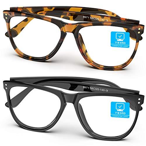 Yemo Blue Light Blocking Glasses, Computer Gaming Glasses, Reading/TV/Phones Glasses for Women Men, Bluelight Blockers Blue Ray Screen Lense Glasses Anti Eye Strain Headache & UV Glare