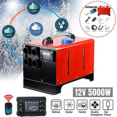 12V 5KW Diesel Air Heater | Diesel Parking Heater Muffler | Automotive Diesel Air Conditioning Heater with LCD Thermostat Monitor for RV, Snow Plow, Motorhome, Trailer, Trucks, Boats (Red) by Chiwell & Co