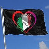 wallxxj Jardín Banner De Bandera Corazón Amor Italia Nación1 Poliéster Yarda Bandera Impresión De Vacaciones Casa Bandera Yarda Bandera Bandera con Ojales Vívidos 150X90Cm