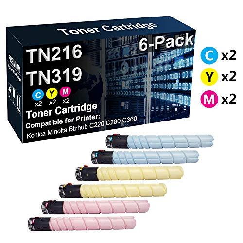 Confezione da 6 cartucce toner compatibili con TN216 (2C+2Y+2M) | TN319 per stampanti laser Konica Minolta Bizhub C220 C280 C360 (alta resa)