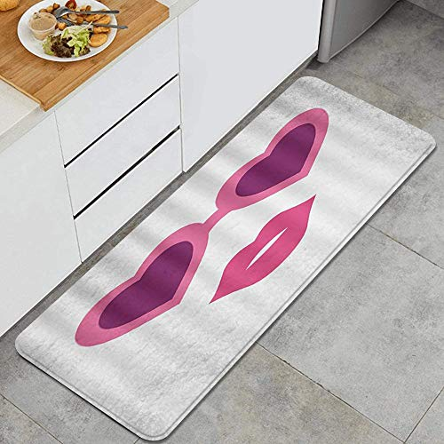 DAHALLAR Anti Fatiga Cocina Alfombra del Piso,Gafas de Color Rosa Vintage Boca Sexy en Blanco,Antideslizante Acolchado Puerta Habitación Bañera Alfombra Almohadilla,120 x 45cm