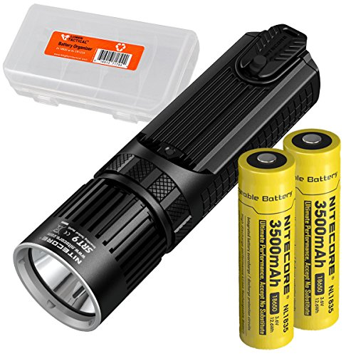 Nitecore SRT9 2150 Lumen Multi-LED Smartring Tactical Flashlight (White, Red, Blue, Green, UV) Plus 2X 3500mAh High-Drain Rechargeable Batteries & LumenTac Battery Organizer