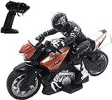 NBVCX Deportes al Aire Libre 1/10 Control Remoto Motocicleta Juguete para Acrobacias Realización de Juguetes para automóvil Recargable RC Motor Bicicleta Seguro y Duradero cumpleaños