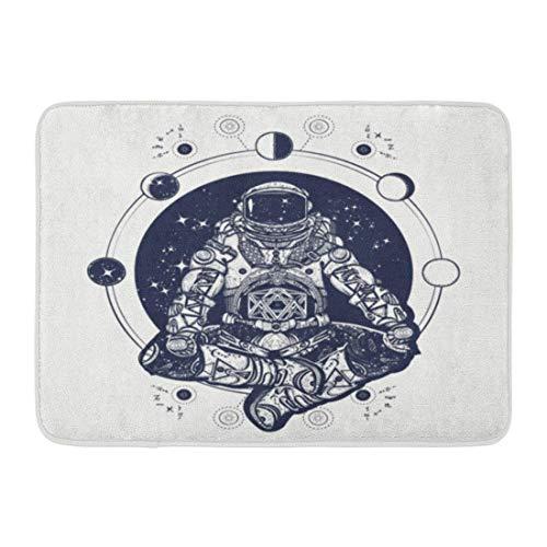 Fußmatten Bad Teppiche Outdoor/Indoor Türmatte Astronaut in der Lotus Position Tattoo Symbol der Meditation Harmonie Yoga und Universum Spaceman Silhouette Badezimmer Dekor Teppich Badematte