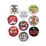 Fun Express Funny Christmas Sayings Buttons 1.25' Metal (48 Count)