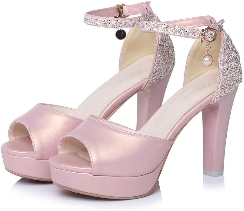MENGLTX High Heels Sandalen Groe Gre 34-43 Heier Frauen Sandalen Sommer Elegante Peep Toe Mode Einfache Schnalle Komfortable High Heels Schuhe
