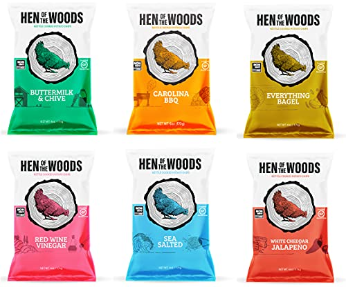 HEN OF THE WOODS All Natural Kettle Chips (Variety Pack 6 pack 6oz)   Snack better with Chef Crafted, Gluten Free, Grain Free, and Non-GMO Kettle Chips with Authentic Flavors and All Natural Ingredients