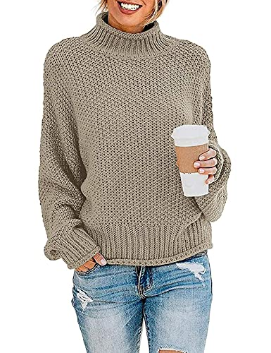ZESICA Women's Turtleneck Batwing Sleeve Loose Oversized Chunky Knitted Pullover Sweater Jumper Tops,Camel,Medium