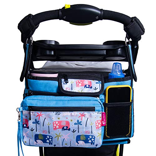 Good Fruit Co. Brand | Universal Fit Stroller Organizer Bag for Single and Double Strollers with Insulated Cup Holders, Extra Storage Mesh Bag, Phone Holder and Durable Straps. An Organizer Caddy with a No Slip Secured Fit.