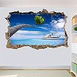 Yxsnow 3D Pegatinas de pared Navegando Palm Tropical Beach 3D Adhesivo Decorativo para Pared Pegatinas Decorativas Pared Para Niños Decoración de la Pared Stickers