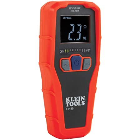 Klein Tools ET140 Pinless Moisture Meter for Non-Destructive Moisture Detection in Drywall, Wood, and Masonry; Detects up to 3/4-Inch Below Surface