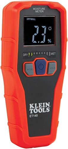 Klein Tools ET140 Pinless Moisture Meter for Non-Destructive Moisture Detection in Drywall, Wood, and Masonry; Detect...