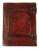 Kooly Zen – Lobo fenrir – Libreta, diario, libro, libro de oro, cuaderno de dibujo, scrapbook, trepador, piel auténtica, vintage, 25 cm x 33 cm, 240 páginas, papel premium