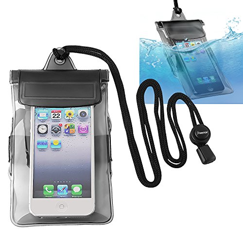 Insten Universal Waterproof Bag Case Compatible with Cell Phone, Apple iPhone 5s / 5/4 / SE, Samsung Galaxy, LG, HTC, Huawei, BlackBerry, PDA [ Size 5 x 3 inches ] Black