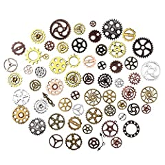 kuou 100 Grams Cogs and Gears, Steampunk Charms Accessories Assorted Antique Steampunk Craft for Crafting Jewelry Making Accessories #1