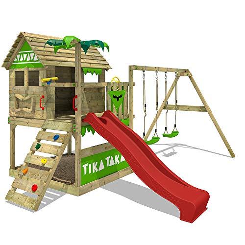 FATMOOSE Speeltoestel voor tuin TikaTaka met schommel en rode glijbaan, Houten speeltuig, Speelhuis voor buiten met zandbak en klimladder voor kinderen