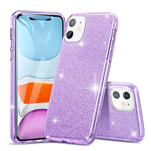 ESR Glitzer Hülle kompatibel mit iPhone 11 Hülle - Glitzer Funkel Klunker Hülle [DREI Schichten] für Frauen [Unterstützt kabelloses Laden] für das iPhone 11 (2019) - Lila