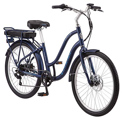 Schwinn Mendocino Adult Hybrid Cruiser eBike, Electric Bicycle, Lightweight Aluminum Frame, 26-Inch Wheels, 6 Speed Drivetrain, Matte Blue