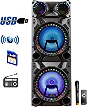 beFree Sound Rechargeable Bluetooth 12inch Double Subwoofer Portable Party Speaker with Dual Layer Reactive Party Lights, USB, SD and AUX Inputs with FM Radio