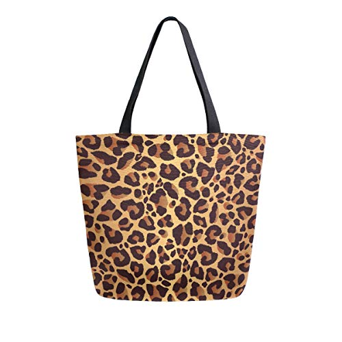 ALAZA Leopard Print Grocery Reusable Tote Bag Women Large Casual Handbag Shoulder Bags for Shopping Groceries Travel Outdoors