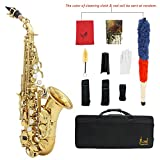 ammoon LADE Saxofón Soprano Bb Bend Althorn Sax Patrón Labrado Latón de Oro Botones Concha de Perla Blanca Instrumento de Viento con Estuche Guantes Paño de Limpieza Grasa Cepillo