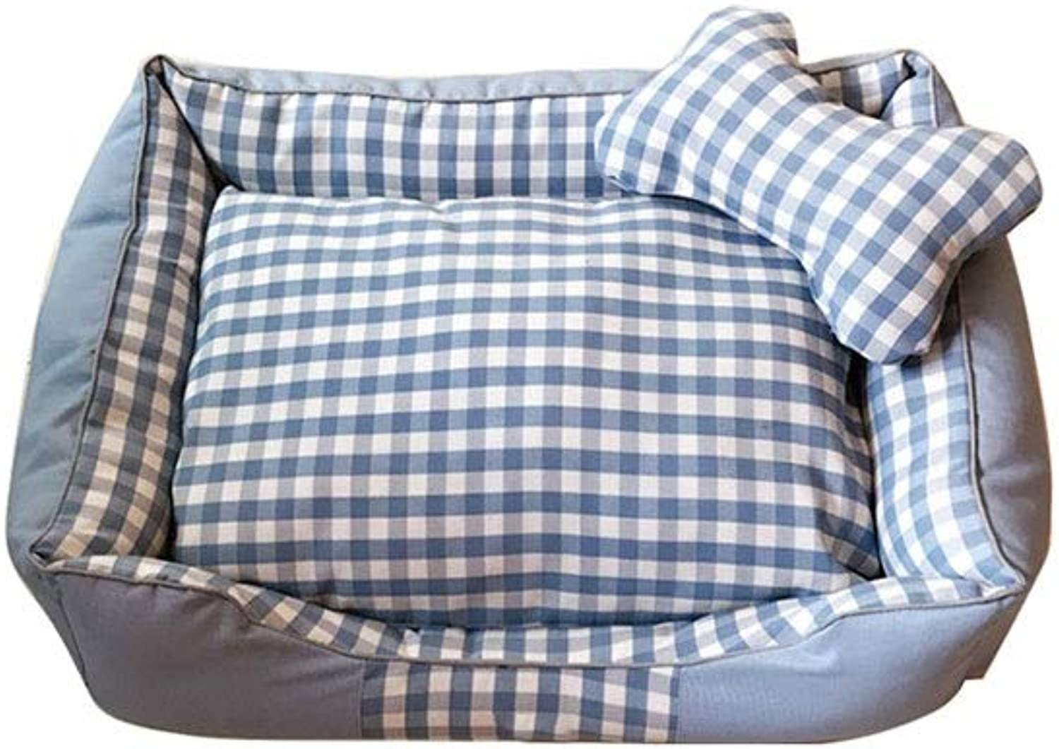 Alapet Four Seasons Dog Bed, bluee Plaid Washable Dog Bed, Facade and Back Two Styles of Dog Beds Cushions, Five, Suitable for Dogs from 2.5 KG to 50 KG, Non-Slip Design (Size   M)