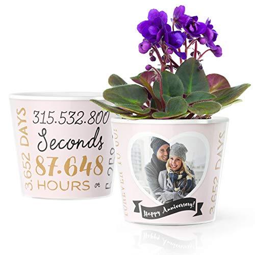 Maceta de 10 aniversario de boda (ø16 cm)   Gran regalo de boda de estaño y decoraciones para parejas, mujeres y hombres con un marco para 1 foto (10 x 15 cm)   10 años en horas, minutos y segundos