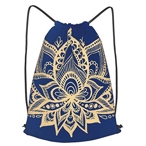 Mochila con cordón de mandala, color dorado y azul y flor de loto, mochila de viaje, ligera, para hombres y mujeres