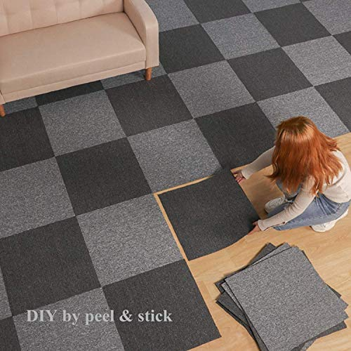 Commercial Carpet Floor Tiles with Adhesive Stickers, 20x20 inch Washable DIY Size Square Carpet Tiles for Residential & Commercial Squares Flooring Use (Dark Grey-20PCS)