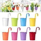 Dahey 8 Pcs Hanging Flower Pots Metal Iron Bucket Planter for Railing Fence Balcony Garden Home Decoration Flower Holders with Detachable Hooks, Multi, 4 Inches