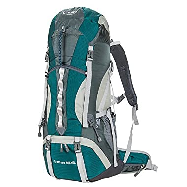 G4Free 50L+5L Outdoor Sport Water-resistant Hiking Backpacks Internal Frame Backpacking Backpack Camping Bag with Rain Cover for Women Men Climbing Trekking Hiking Travel Mountaineering(Green)