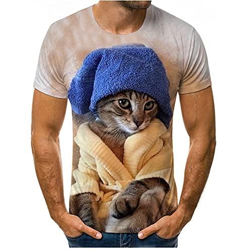 T-Shirt Uomo Maniche Corte Stampa 3D Girocollo Top Uomo Estate Regular Fit Camicia Sportiva Uomo Lavoro Casual Confortevole T-Shirt Uomo Modern Urban Style Shirt Uomo