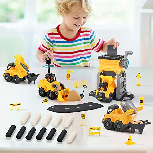 TEMI Take Apart Construction Toys,Trucks Set w/ Kinetic Sand, playdough,4 Tractor Excavator Dump Crane Cars,Storage Box,STEM Cars Toys for 3 4 5 Year Old Boys