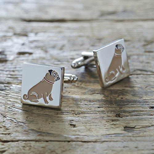 Gemelos chapados en plata para hombre, regalo ideal para carlino o amante de perros, 18 mm x 3 mm