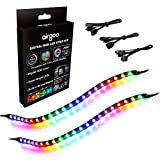 Addressable PC RGB LED Strip, Magnetic Rainbow PC Case Lighting, 2PCS Strips 42LEDs for 5V 3-pin ARGB LED headers, for ASUS Aura SYNC, Gigabyte RGB Fusion, MSI Mystic Light Sync Motherboard